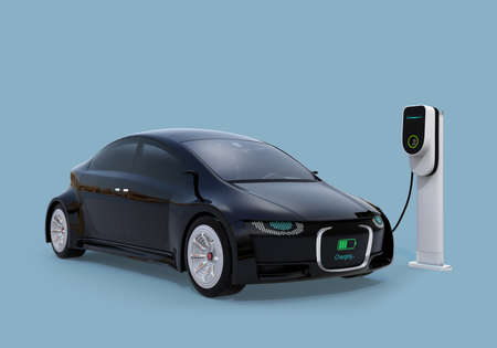 Electric car charging in charging station. Front grille with digital monitor display charging progress. 3D rendering image. Stock Photo