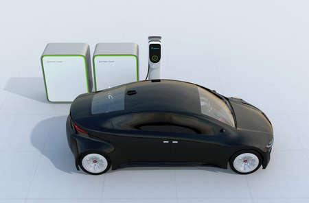 バッテリー グループと充電ステーションで充電する電気自動車。3 D レンダリング イメージ。 写真素材