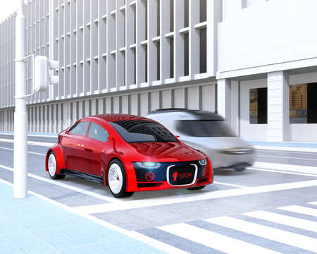 Self-driving cars front grille showing digital signage for pedestrian. Concept for communication between autonomous car and pedestrian. 3D rendering image. Stock Photo