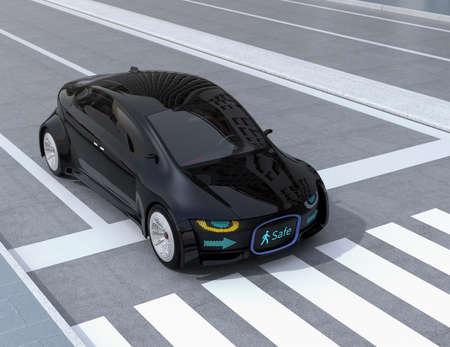 歩行者のデジタルサイネージを示す自動運転車のフロント グリルを黒します。自律車と歩行者間の通信のための概念。3 D レンダリング イメージ。 写真素材