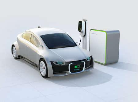 電気自動車充電ステーションで充電します。デジタル モニターとフロント グリルは、充電の進行状況を表示します。3 D レンダリング イメージ。 写真素材