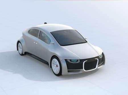 地面に銀色の自動運転車駐車場。デジタルヘッドライト付きフロントグリル。3D レンダリング イメージ。