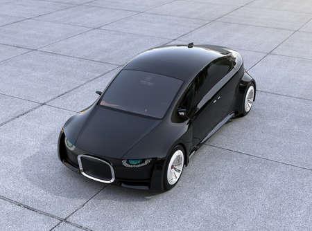 地面に黒い自動運転車の駐車場。デジタルヘッドライト付きフロントグリル。3D レンダリング イメージ。