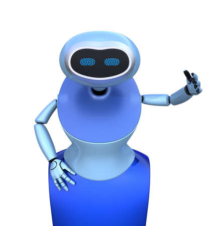 Front view of blue humanoid robot isolated on white background. 3D rendering image.