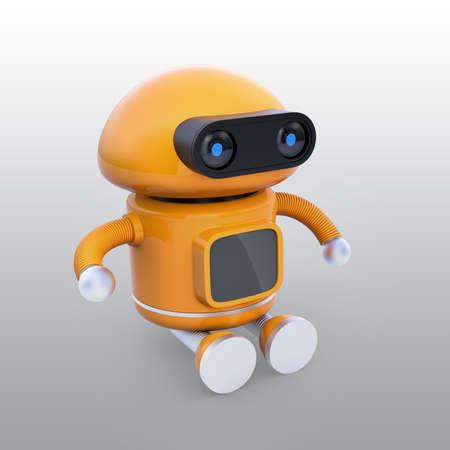 かわいいオレンジのロボットが地面に座っている。3D レンダリングイメージ。 写真素材