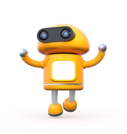 白い背景の空白のモニターでかわいいオレンジ色のロボットが踊っています。3 D レンダリング イメージ。