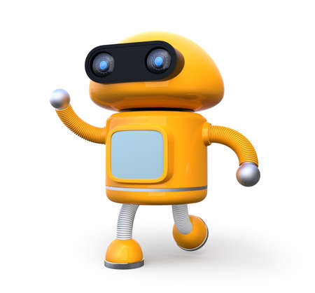 Cute orange robot shaking his right hand isolated on white background. 3D rendering image.
