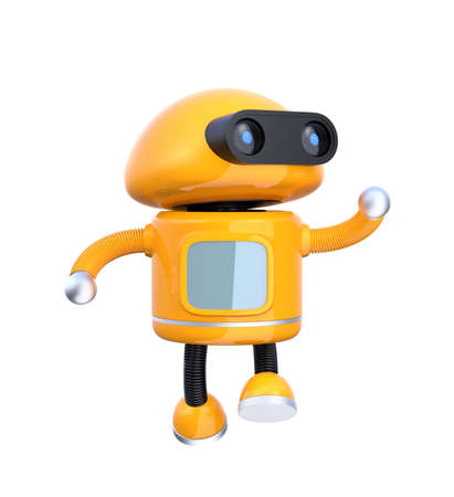 Cute orange robot dancing on white background. 3D rendering image.