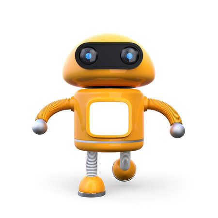 Front view of cute orange robot isolated on white background. 3D rendering image.