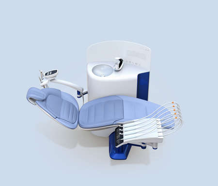Side view of dental unit equipment isolated on light blue background. 3D rendering image.