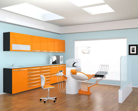 Dental clinic interior with yellow cabinet and patient chair. 3D rendering image. Stock Photo