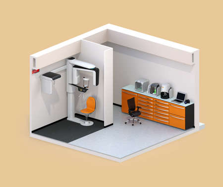 Isometric view of dental clinic interior with Con-Beam CT and CADCAM system. 3D rendering image.