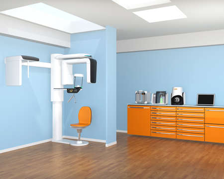 Dental clinic interior with Con-Beam CT and CADCAM system. 3D rendering image. Stock Photo