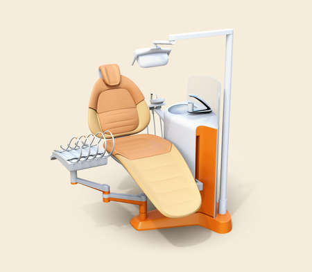orthodontist: Dental unit equipment isolated on warm gray background. 3D rendering image.