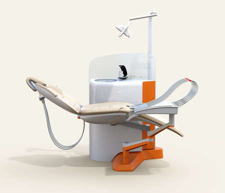 Side view of dental unit equipment isolated on warm gray background. Frosted glass partition display patients row teeth. 3D rendering image. Stock Photo