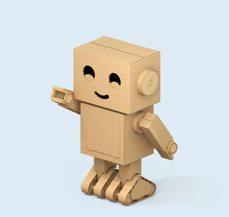 Isometric view of Cute Cardboard Robot isolated on light blue background. 3D rendering image. 스톡 콘텐츠