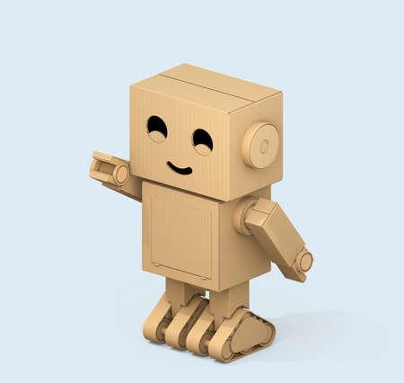 연한 파란색 배경에 고립 귀여운 골 판지 로봇의 아이소 메트릭 뷰. 3D 렌더링 이미지입니다.