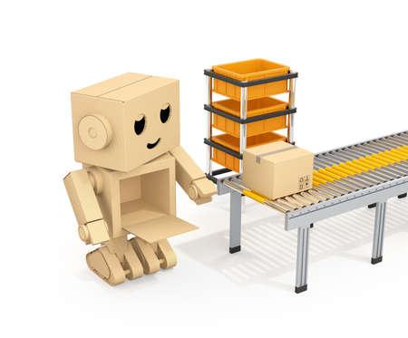 かわいい段ボール ロボットは、ベルトコンベアから段ボールの小包を拾います。3 D レンダリング イメージ。