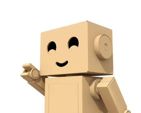 漫画文字かわいいダン ボール ロボット白い背景に分離されました。3 D レンダリング イメージ。 写真素材