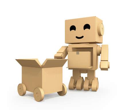 ダンボールトラックに小包を運ぶかわいい段ボールロボット。3D レンダリング イメージ。 写真素材 - 90019586