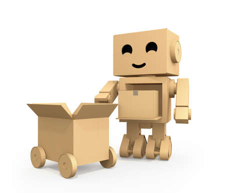 Cute Cardboard Robot carrying parcel to cardboard truck. 3D rendering image.