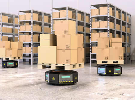 Black robot carriers carrying pallets with goods in modern warehouse.  Modern delivery center concept. 3D rendering image. Stock Photo