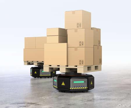 Zwarte magazijnrobotdragers die kartonnen dozen vervoeren. 3D-rendering afbeelding. Stockfoto