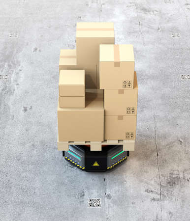 Front view of black warehouse robot carrier carrying cardboard boxes on the concrete ground. 3D rendering image.