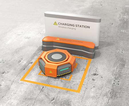 オレンジの倉庫ロボットが充電ステーションで充電します。高度な倉庫ロボット技術コンセプト。3 D レンダリング イメージ。