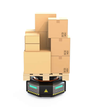 Front view of black warehouse robot carrying cardboard boxes isolated on white background. 3D rendering image.