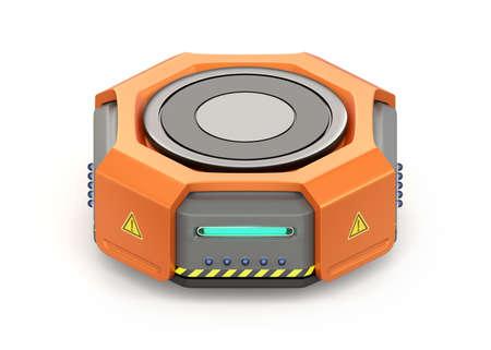 オレンジの倉庫ロボット キャリアは、白い背景で隔離。3 D レンダリング イメージ。 写真素材
