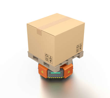 Orange warehouse robot carrier carrying cardboard boxes. 3D rendering image.