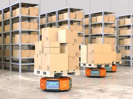 オレンジ色のロボットのキャリアは、近代的な倉庫で商品のパレットを運ぶします。 近代的な配送センターのコンセプト。3 D レンダリング イメー