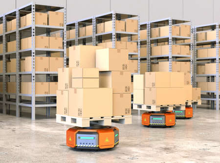 Orange robot carriers carrying pallets with goods in modern warehouse.  Modern delivery center concept. 3D rendering image.