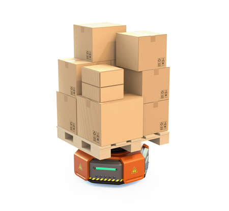 オレンジの倉庫ロボットは、白い背景で隔離の段ボール箱を運ぶします。3 D レンダリング イメージ。 写真素材