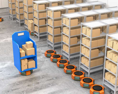 Orange robot carriers parking near to shelves in modern warehouse.  Modern delivery center concept. 3D rendering image.