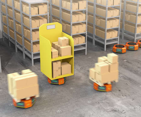現代の倉庫で商品を運ぶオレンジ色のロボットキャリア。 近代的な配達センターの概念。3D レンダリング イメージ。 写真素材