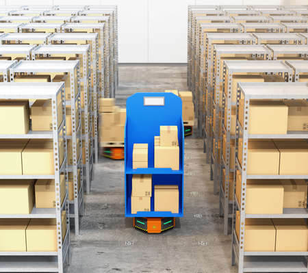現代の倉庫で商品を運ぶオレンジ色のロボットキャリアの正面図。 近代的な配達センターの概念。3D レンダリング イメージ。