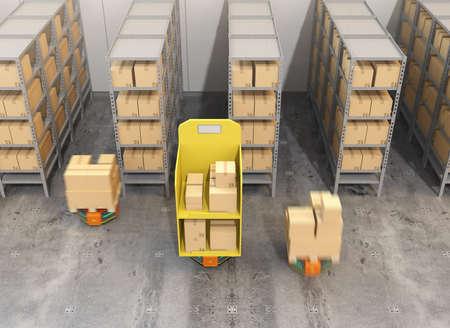 オレンジ色のロボットのキャリアは、近代的な倉庫で物資を運びします。 近代的な配送センターのコンセプト。3 D レンダリング イメージ。