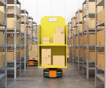 近代的な倉庫で物資を運びオレンジ色のロボット事業者のフロント ビュー。 近代的な配送センターのコンセプト。3 D レンダリング イメージ。 写真素材