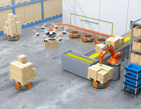 Modern warehouse equipped with robotic arm, drone and robot carriers. Modern delivery center concept. 3D rendering image.