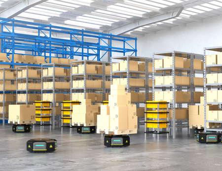 現代の倉庫で商品を運ぶ黒いロボットキャリア。 近代的な配達センターの概念。3D レンダリング イメージ。