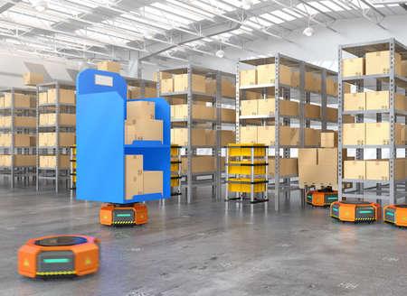 Oranje robotdragers die goederen in modern pakhuis vervoeren. Modern bezorgcentrumconcept. 3D-rendering afbeelding.