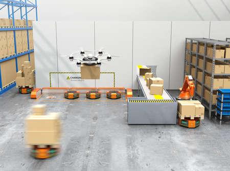 現代倉庫ロボット アーム、無人機とロボットのキャリアを装備しました。近代的な配送センターのコンセプト。3 D レンダリング イメージ。