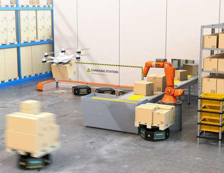 Modern magazijn uitgerust met robotarm, drone en robotdragers. Modern leveringscentrumconcept. 3D-rendering afbeelding.
