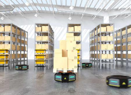 黒いロボットのキャリアは、近代的な倉庫で物資を運びします。 近代的な配送センターのコンセプト。3 D レンダリング イメージ。