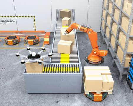 ロボットアーム、ドローン、ロボットキャリアを装備した近代的な倉庫。近代的な配達センターの概念。3D レンダリング イメージ。