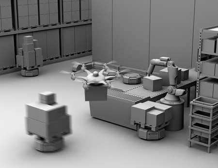 粘土現代倉庫ロボット アーム、無人機とロボットのキャリア装備のレンダリングします。近代的な配送センターのコンセプト。3 D レンダリング イ 写真素材