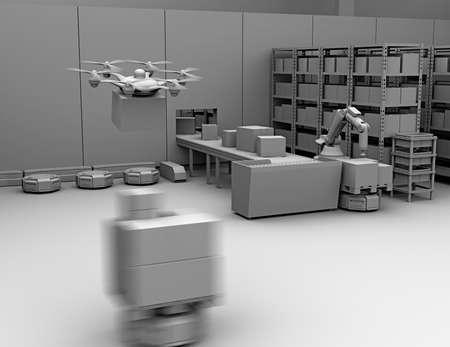 ロボットアーム、ドローン、ロボットキャリアを装備した近代的な倉庫の粘土レンダリング。近代的な配達センターの概念。3D レンダリング イメー 写真素材