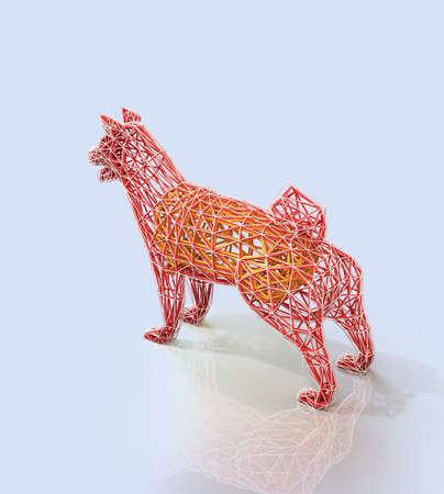 Rear view of red dogs wire frame shape in low polygon style. 3D rendering image. Stock Photo